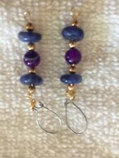 Purple Agate and Lapis Lazuli Earrings gold filled