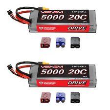 Venom 20C 2S 5000mAh 7.4V Hard Case LiPo Battery with UNI Plug System x2 Packs