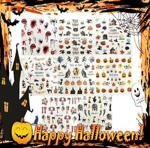 Halloween 2021 Nail Art Decal Stickers , Blood, Pumpkin, Witch, Haunted House