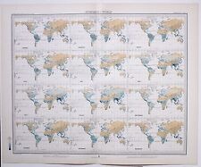 1899 LARGE WEATHER METEOROLOGY MAP THE WORLD ISOHYETS ANNUAL RAINFALL