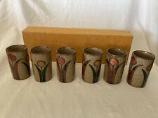 Vint Otagiri Japan Set Of 6 Hand-painted Stoneware Saki /Tea/Juice Cups Glasses