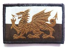 EMBROIDERED WALES PATCH Brown velcro Welsh Dragon retro military cloth badge