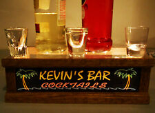 PERSONALIZED TROPICAL BAR LIGHTED shot glass / liquor display oak/ BAR SIGN