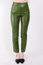 JIL SANDER VTG Olive Green Leather Crop High Waisted Trousers Dress Pants 34/2/0