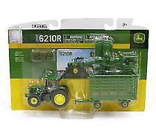 1/64 Ertl John Deere 6210R Tractor With Baler & Wagon