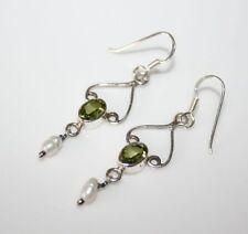 Unbranded Peridot Drop/Dangle Sterling Silver Fine Earrings