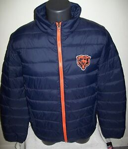 CHICAGO BEARS NFL Puffer Pack It Jacket with Tote Bag MEDIUM, XL  BLUE