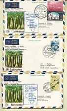 LUFTHANSA FIRST FLIGHT COVERS FRANKFURT TO MAURITIUS 1970 COMPLETE SET 6