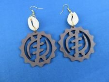 Shell And Light Weight Wood Earrings African Ethnic Jewelry Gye Nyame Cowrie