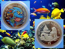 Palau 1 $farbmünze 1992 Marine Life Protection -- coloreada fauna marina 1 (pl01)