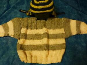 2 piéces,vintage ,tricoté mamie,bébé ou gros poupon  blanc gris
