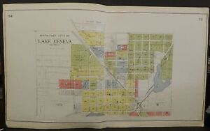 Wisconsin Walworth County Map Lake Geneva 2-Double Pages  1921  J24#46