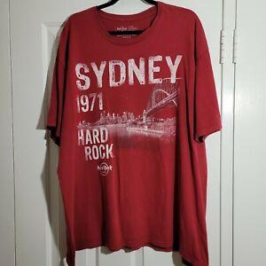 HARD ROCK CAFE Sydney 1971 T SHIRT Vintage Style Red Logo Stretch Size XXL