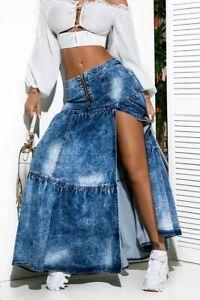 By Alina Mexton High-Waist Jeans Maxirock Glockenrock Jeansrock Rock Lang XS-M