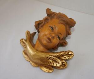 VINTAGE GERMAN HAND CARVED WOOD PUTTI CHERUB ANGEL GOLD WINGED WALL MOUNT # 1
