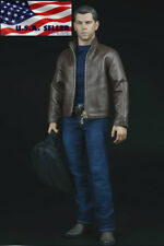 "1/6 Matt Damon Agent Leather Jacket Suit Set For 12"" HotToys PHICEN Figure ❶USA❶"