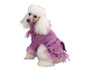 Fringed Belted DOG Sweater PJ's Lilac XXS XXSmall