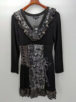 Kessley Fashion Women's Small 1590 Black Gray Floral Pattern Dress New With Tags