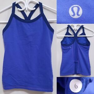 Lululemon Blue Black Tank Top Size 6 Small Yoga Sleeveless Shirt