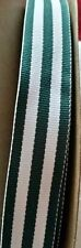 """2 yards - 22mm (7/8"""") wide HUNTING GREEN STRIPE WOVEN DOUBLE SIDED  RIBBON TRIM"""