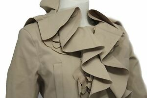 Valentino Women Beige Khaki Short Fashion Nude Coat Jacket Wide Ruffle Neck 10