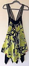 DECA Paris Sleeveless Gothika Tunic Dress Gothic Lagenlook Artsy Black Print 1 S