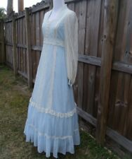 Vintage GUNNE SAX Blue Lace Prairie Hippy Boho Wedding Festival Maxi Dress 11