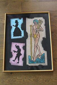 """Alexis KEUNEN Peintre surréaliste """"Chez Mme DE."""" Technique mixte sur papier 1986"""