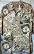 Montego Mon Mens Silk Hawaiian Shirt Button Up Habana Cuba Cocktail Size Large