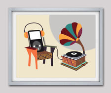 Art Print Gramophone Musical Vintage Headphone Pop Painting Poster Home Decor
