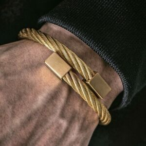Mens Gold Stainless Steel Chunky Twisted Rope Bracelet Bangle Jewellery 6mm