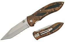"Folding Pocket Knife 5"" Silver Tanto Serrated Blade Brown Camo Handle Hunter Edc"