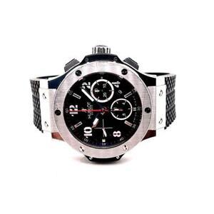 HUBLOT Big Bang Steel 44mm Stainless Steel/Rubber Strap Black Dial Wristwatch