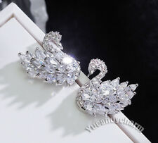 Made in Korea Black White Swan Marquise Cut CZ Earrings 925 Sterling Silver Stud