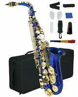 Alto Saxophone Carved Brass Body w/ Carrying Case+Reed+Mouthpiece+Throat Blue
