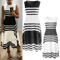 Women Striped Sleeveless Casual Dress A-Line Round Neck Vintage Midi Party Dress