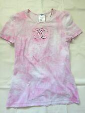 Rare Chanel Pink CC Logo Cotton Tee T Shirt Sz 38