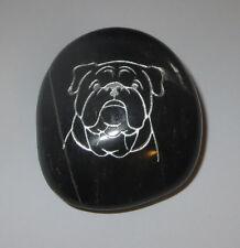 "Bulldog Dog Rock Stone Accent New Dark 2"" High Etching"