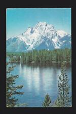 Union Pacific Railroad RR Pictorial Postcard Mount Moran across Jackson Lake WY
