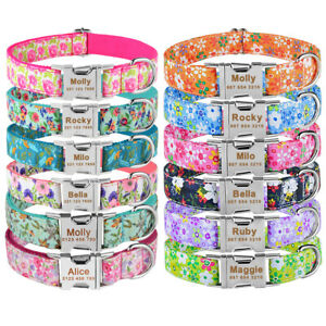 Flower Personalised Girl Dog Collar Engraved Small Medium Large Quick Release