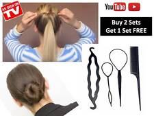 4 Pcs Set Hair Styling Clip Twist Braid Ponytail Tool Accessories and Bun Maker
