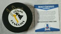 Jaromir Jagr Signed Autographed Pittsburgh Penguins Puck Beckett COA NHL Hockey