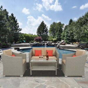 4 PCS Outdoor Patio Rattan Wicker Furniture Set with Table Sofa Cushioned  XH