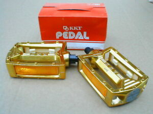 """NOS BMX KKT AMX PEDALS GOLD 9/16"""" AXLE BOXED EARLY 80's OLD SCHOOL"""