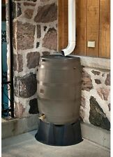 50 Gal Rain Barrel, Flat Back w/Brass Spigot, Hose Hook-Up, Dual Overflow, Brown