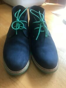 Men's suede navy blue and green Cole Haan shoes, size 8