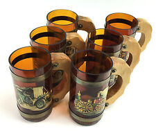 VTG Set of 6 Amber Glass Wood Handle Beer Mugs Antique Car & Train Decals