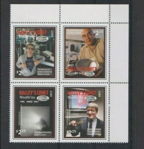 TONGA NIUAFO`OU 2017 Halley`s Comet Corner Block set of 4 stamps MNH per scan