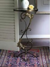 NEW TUSCAN ORNATE ACANTHUS IRON Brass Medallion END ACCENT Table Glass Top