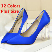 Women's Pumps Pointed Toe Transparent Chunky Heeled Club Wedding Party Shoes